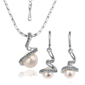 Neevas Ladies Exquisite Fashion Crystal & Pearl Necklace Earrings Jewellery Set