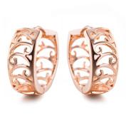 YAZILIND Elegant Simple Design Rose Gold Plated Small Hollow Hoop Earrings for Women