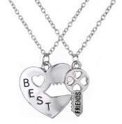 Fengteng Necklace Best Friends Forever BFF Pendant Heart & Key Necklace Gift For Girl Woman Gift ideal Gift