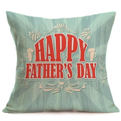 HLHN Happy Father Day Pattern Flax Square Home Design Pillow Case Pillowslip Waist Throw Cushion Cover for Sofa Home Bedroom Office Coffee Shop Car Decor
