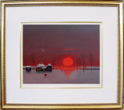 "Saito Shinichi lithograph ""red or village of the Sun"""