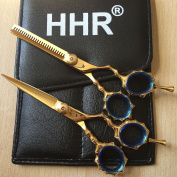 Gold - Hhr Professional Barber Hairdressing Scissors Shears Hair Cutting Set - -
