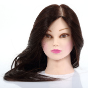 60cm 50% Human Hair Mannequin Salon Practise Model Training Head Hairdressin