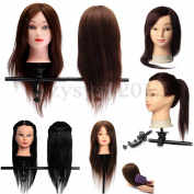 100% Real Human Hair Hairdressing Practise Training Head Doll Mannequin Clamp