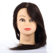 Uk Stock 60cm 70% Real Hair Hairdressing Training Practise Mannequin Head +clamp