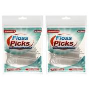 2 X Claradent 80 Floss Picks Waxed Nylon Thread Shred Resistant Dental Flosser