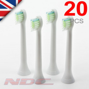 20 X Sonicare Diamondclean Compact Toothbrush Heads For Philips Hx6074 Phillips