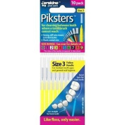 Piksters Interdental Brush - Size 3 Yellow 0.60mm - 10 Brushes Per Pack X 10