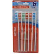 6 X Assorted Colour Flex Handle Tooth Brushes Medium Bristles Easy Grip Clean