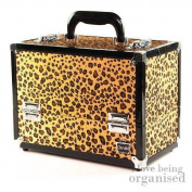 Ladies Carry Cosmetic Nail Storage Organiser   Animal Print Cheetah Makeup Hard