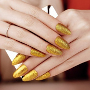 Artplus 24pcs Gold Glitter False Nails With Glue Full Cover Stilleto Fake Nails