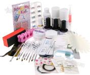 Uk Stock Glitter Nail Acrylic Powder Uv Nail Art Set Tips Kit Brush Uv Gel File