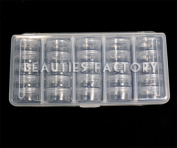 25 X Storage Bottle Plastic Empty Box Case Pot Nail Art Rhinestone Bead #363k