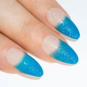 Bling Art Stiletto False Nails Fake Acrylic Blue Glittter Full Cover Medium Tips