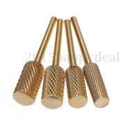 4pcs Gold Carbide Barrel Drill File Rotary Bit Burrs Nail Art Manicure Nail Tool