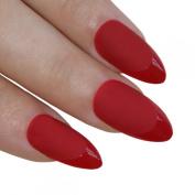 Bling Art Stiletto False Nails Fake Acrylic Matte Red Full Cover Medium Tips Uk
