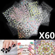 60 X Sheets 3d Butterfly Floral Design Nail Art Stickers Tips Decal Manicure Diy