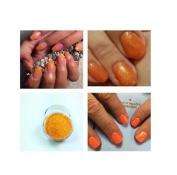 Orange Mermaid Iridiscent Acrylic Powder Pre Mixed Glitter Nail Extension Art 5g