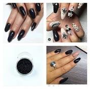 Black Acrylic Powder Pre Mixed Glitter Nail Extension Art Design 5g Pot