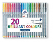 Staedtler 334 Sb20 Triplus Fineliner Tips Desktop Box - Assorted Colours 20 Pens