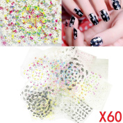 60 Sheets 3d Butterfly Floral Design Nail Art Flower Sticker Tips Decal Manicure