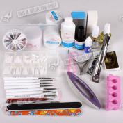 Uv Nail Art Uv Gel Kit/set Nail Polisher Forms Brushes False Nails Sets Uk Ship