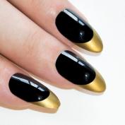 Bling Art Stiletto False Nails Fake Acrylic Gold Black Full Cover Medium Tips Uk