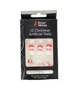 Snow White 12 Santa Face Christmas Artificial Nail Tips With Glue