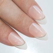 Bling Art Stiletto False Nails Fake Acrylic White Glitter 24 Full Medium Tips Uk