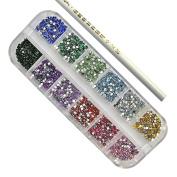 3000 Pcs Nail Art Rhinestone 2mm Round Diamante Gems - 12 Colours + Picker Tool