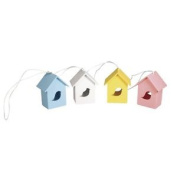 Rayher Hobby 56789000 Wood Hanger Bird House / 6.5 X 5 X 4 Cm 4 Colours With Box