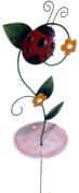 Freestanding Metal Garden Bird Feeder Stake - Ladybird Bug Flower Design