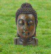 Small Buddha Head Garden Statue Poly-resin Outdoor Patio Ornament