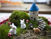 Ginsco 10pcs Miniature Ornament Fairy Garden House Rabbit Curve Mushroom Diy Kit