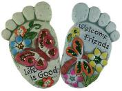 Pair Of Feet - Pretty Glitter Foot Garden Stone Design Decorative Ornaments