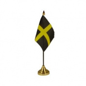 "9"" X 6"" St Davids Satin Table Flag - Premium 22.5 15cm Pole & Base Not Inc"