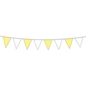 Bunting White & Yellow 6m Long - Alternate Flags 6 Metres Party Decoration