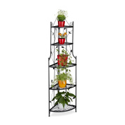 Relaxdays Goth Corner Plant Stairs, Metal, 5 Shelves, Foldable, Weather-resist