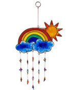 Windhorse Sun, Cloud & Rainbow Suncatcher - Stained Glass Window Decoration New