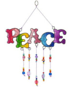 Windhorse Rainbow 'peace' Hanging Resin Suncatcher - Stained Glass -