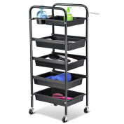 Adjustable 5 Drawers Trolley Storage Salon Hairdresser Hair Beauty Colouring Cart