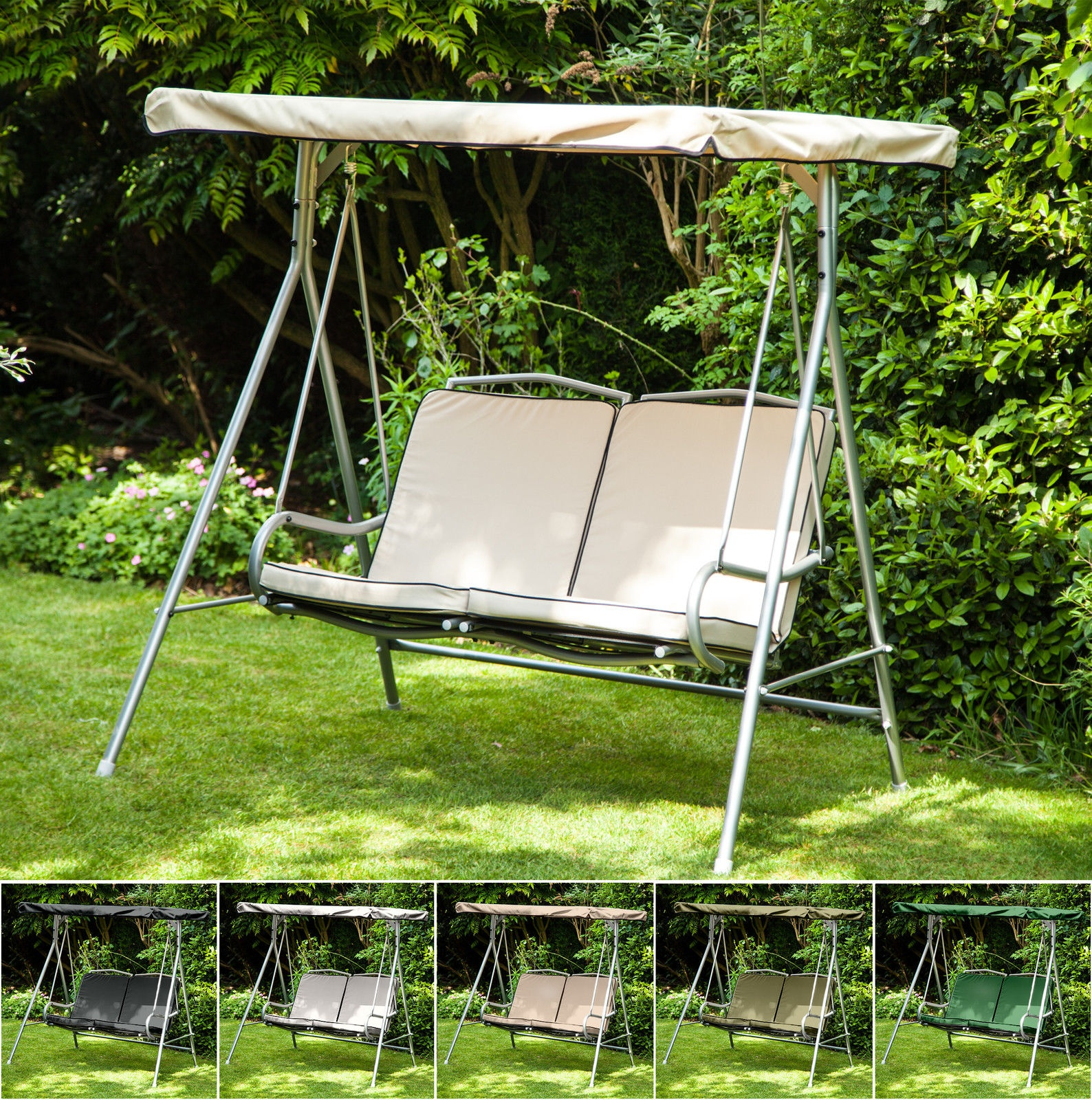 Details & Replacement Canopy Cushions For Argos Malibu 2 Seater Garden Swing ...