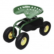 Costway Rolling Garden Cart Work Seat With Heavy Duty Tool Tray Gardening Green