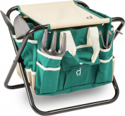 Andrew James Folding Garden Tool Storage Stool Seat With Detachable Bag