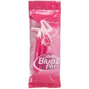 3 Gillette Venus Blue Ii Plus Disposable Womens Ultragrip Razors Baby Oil & Aloe