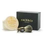 Geo F Trumper Faux Horn, Pure Badger Shaving Brush & Sandalwood Cream Set