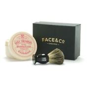 Geo F Trumper Black, Pure Badger Shaving Brush & Limes Shave Cream Set