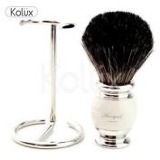 Mens Shaving Pure Black Badger Hair Shaving Brush,+ Free Brush Holder