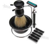 Useful 4 In 1 Shaving Razor Beard Clean Set Brush Soap Dish Stand Razor Blades