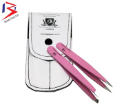 Beautytrack® Pink Professional Eyebrow Tweezers Set With Leather Case, Point -